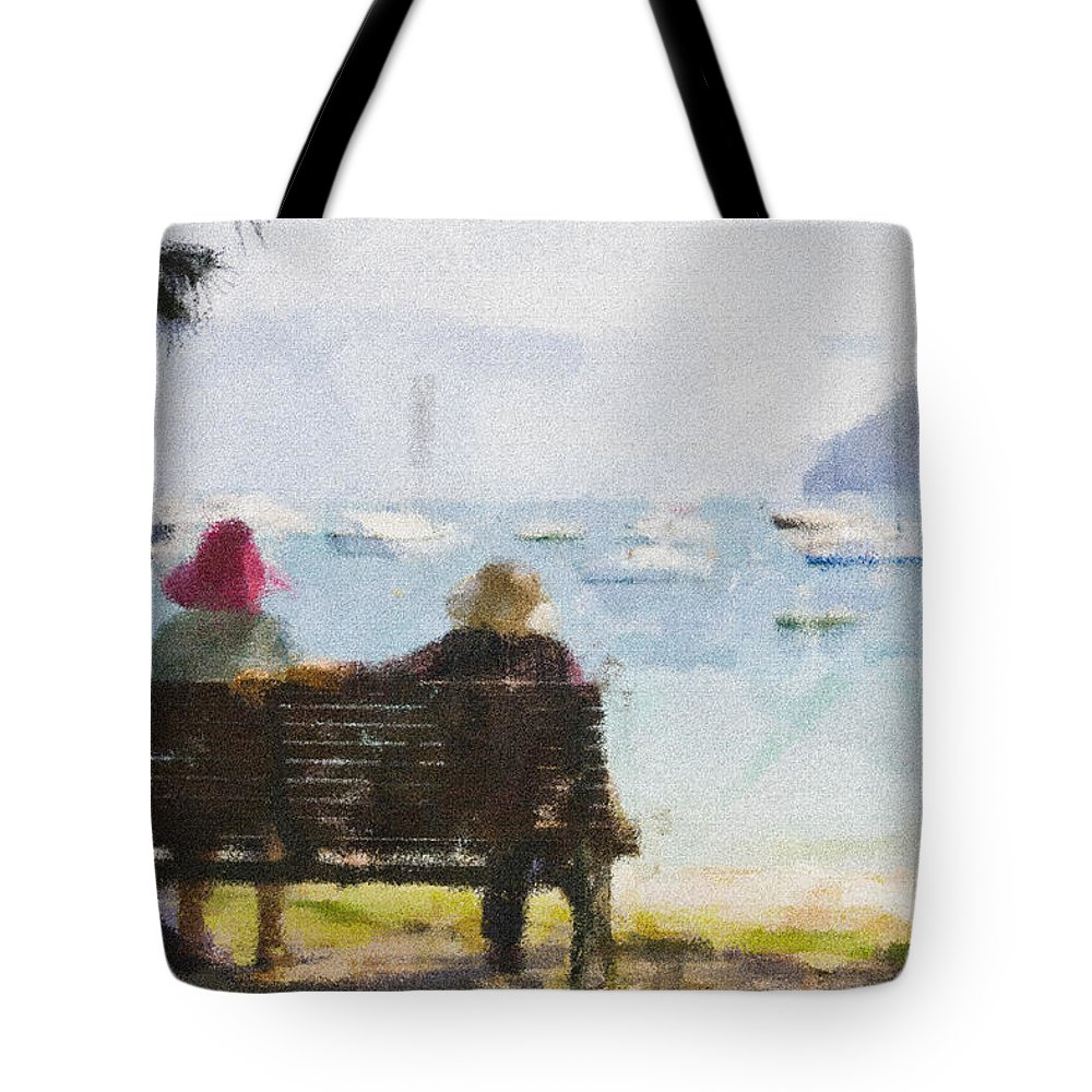 Impressionism Impressionist Water Boats Three Ladies Seat Tote Bag featuring the photograph Three Ladies by Sheila Smart Fine Art Photography