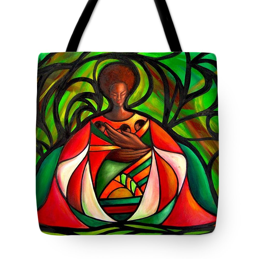 Tote Bag featuring the painting Three Little Birds by Lee Grissett