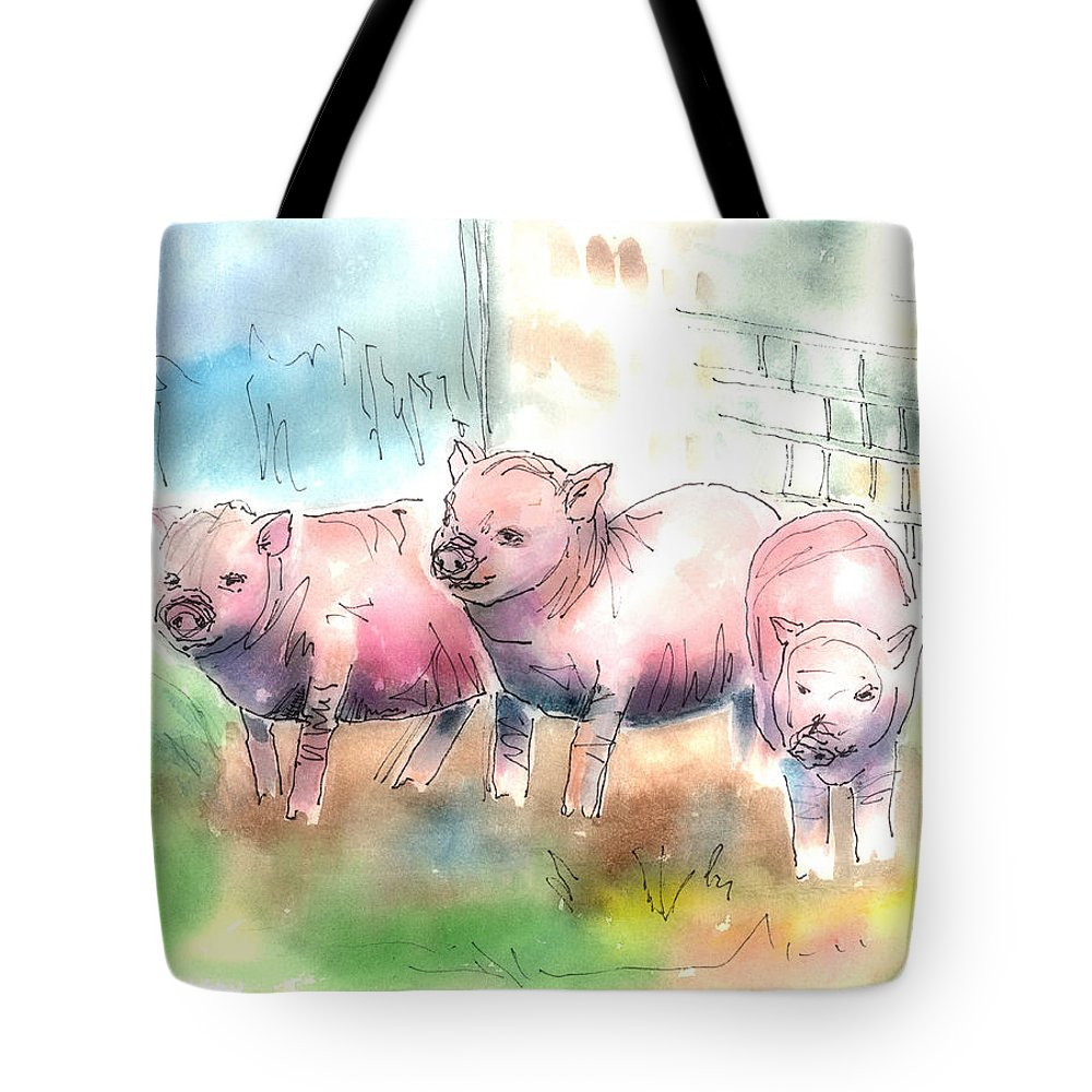 Pig Tote Bag featuring the mixed media Three Little Pigs by Arline Wagner