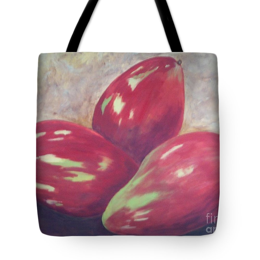 Mangos Tote Bag featuring the painting Three Mangos by Jeanie Watson