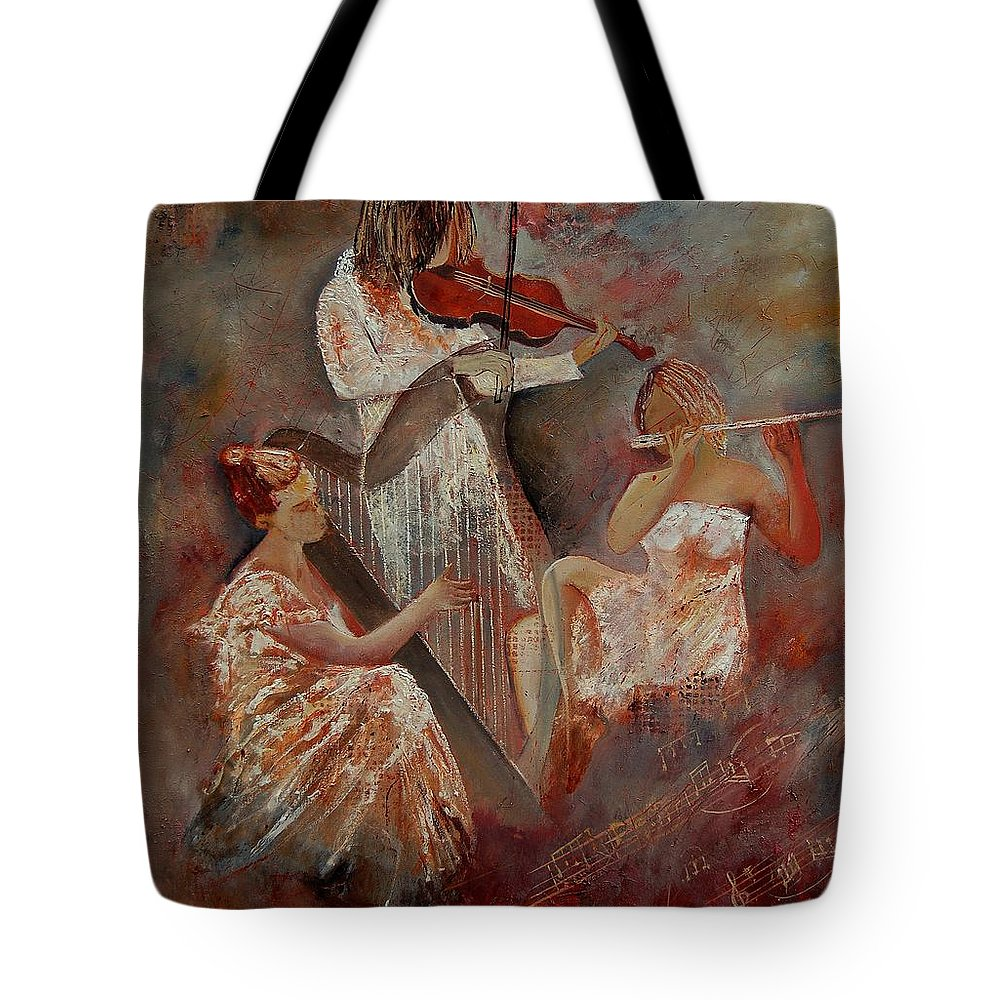 Music Tote Bag featuring the painting Three Musicians by Pol Ledent
