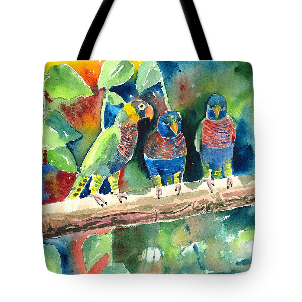 Bird Tote Bag featuring the painting Three On A Branch by Arline Wagner