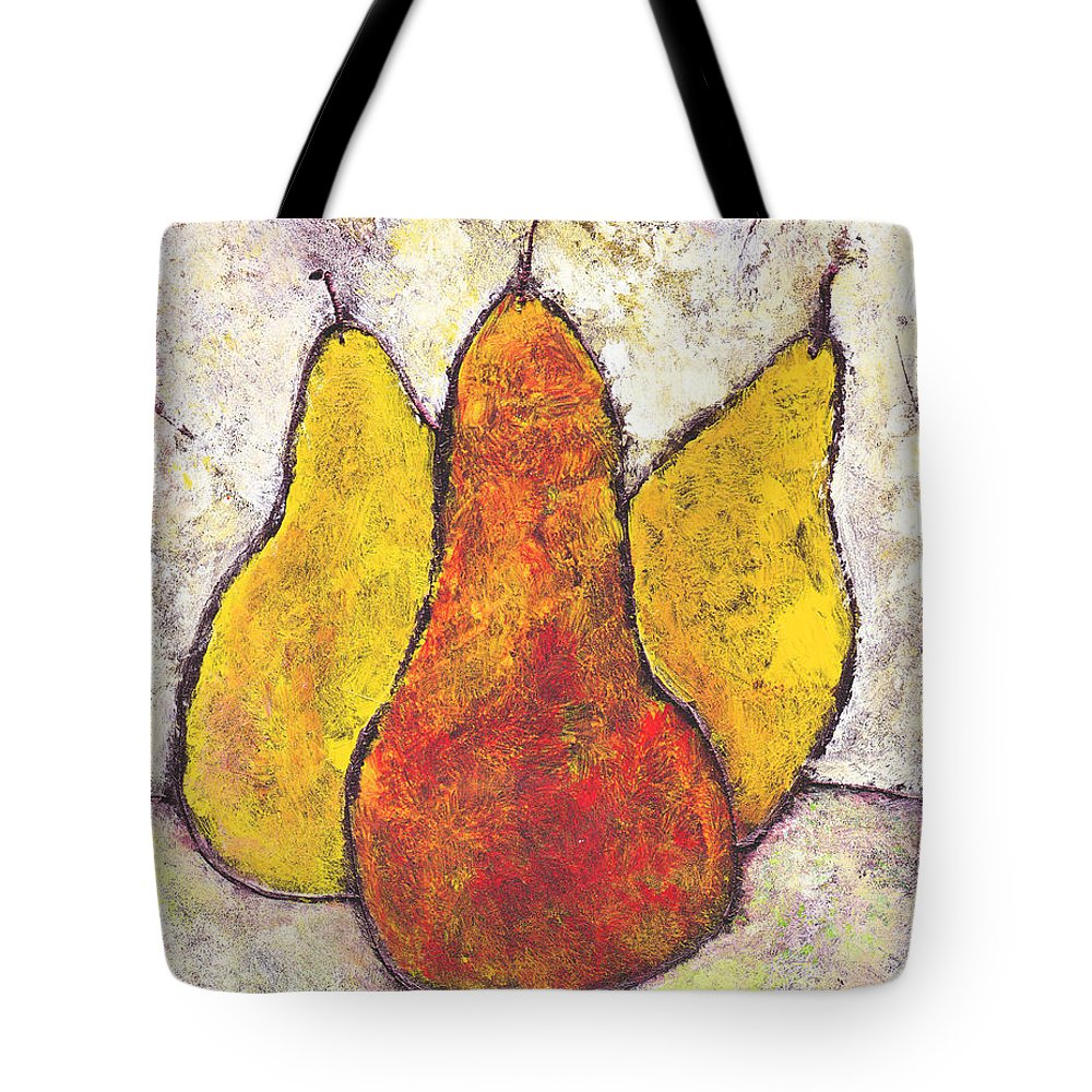 Pears Tote Bag featuring the painting Three Pears by Wayne Potrafka