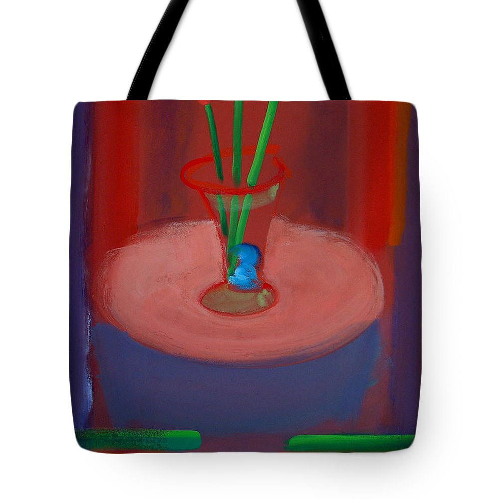 Poppies Tote Bag featuring the painting Three Poppies In A Vase by Charles Stuart