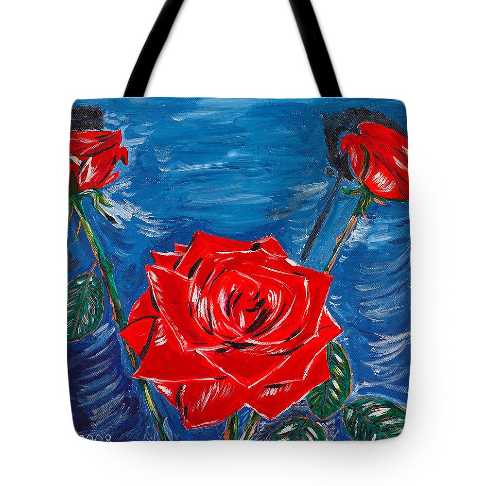 Rose Tote Bag featuring the painting Three Red Roses Four Leaves by Valerie Ornstein
