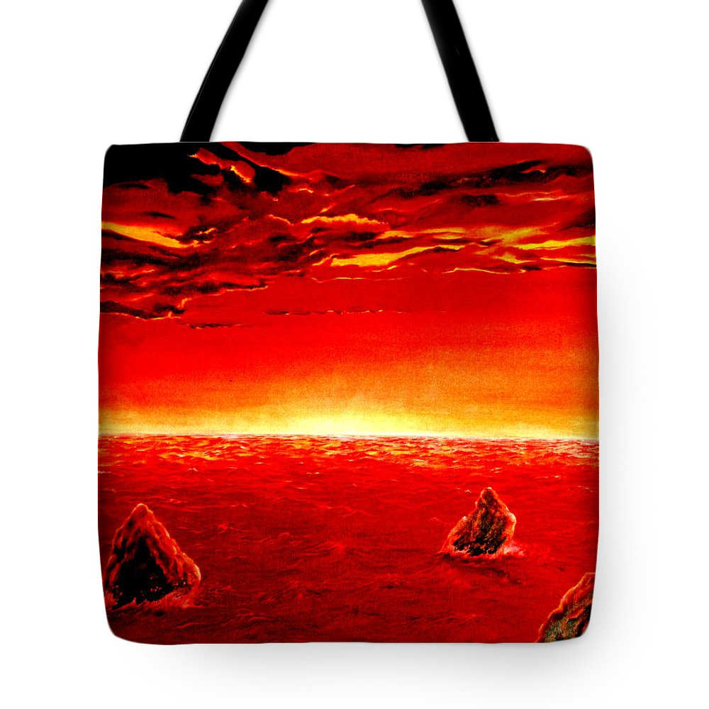 Seascape Tote Bag featuring the painting Three Rocks In Sunset by Mark Cawood