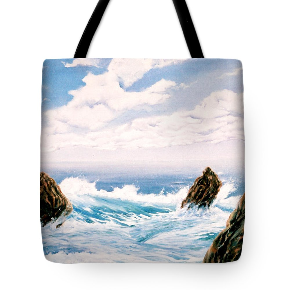 Seascape Tote Bag featuring the painting Three Rocks by Mark Cawood