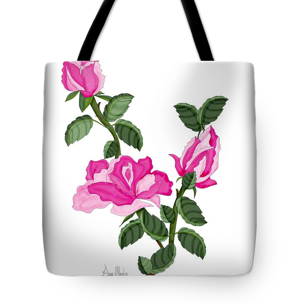 Roses Tote Bag featuring the painting Three Roses in the Garden by Anne Norskog