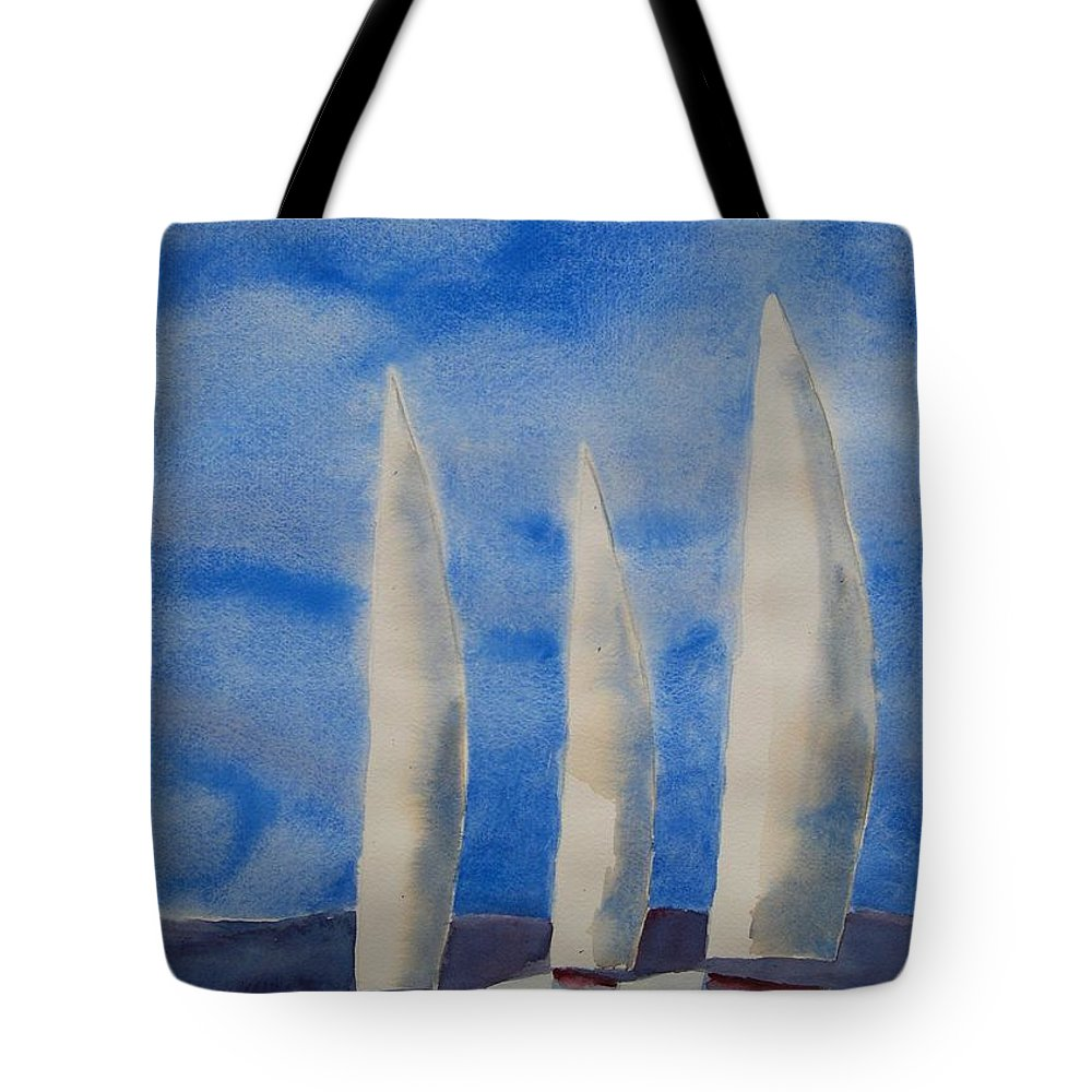 Boat Tote Bag featuring the painting Three Sails by Patricia Caldwell