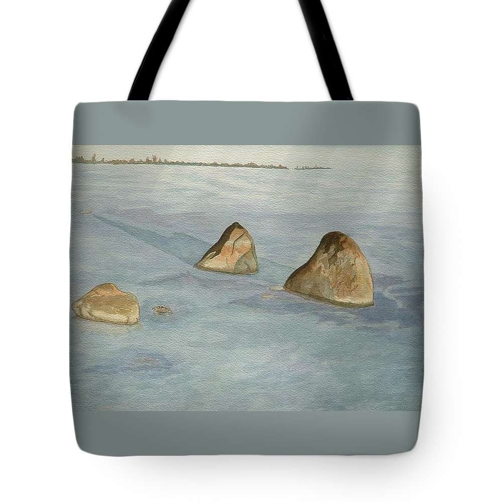 Lakescape Tote Bag featuring the painting Three Sisters by Lynn ACourt
