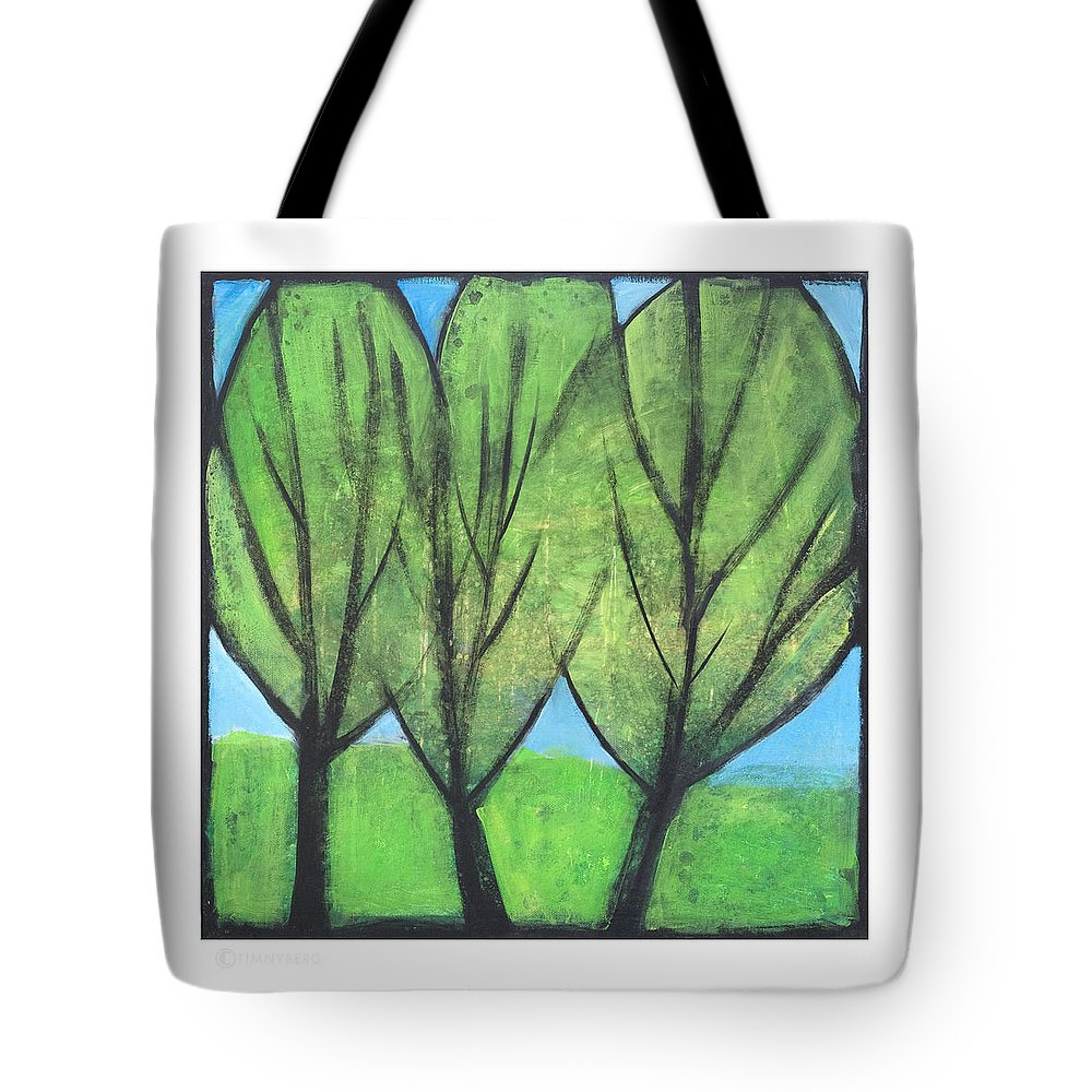 Trees Tote Bag featuring the painting Three Sisters by Tim Nyberg