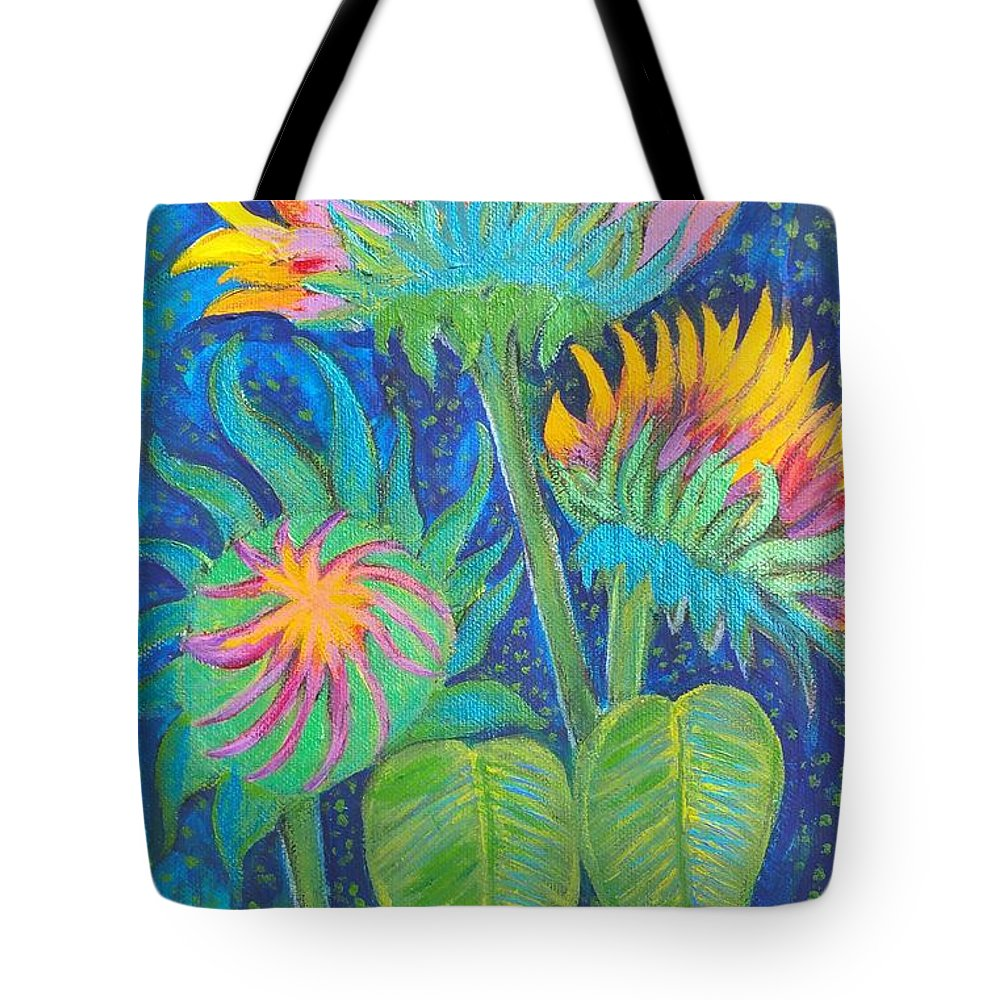 Sunflowers Tote Bag featuring the painting Three Sunflowers In The Mid Summer Night by Jean Fassina