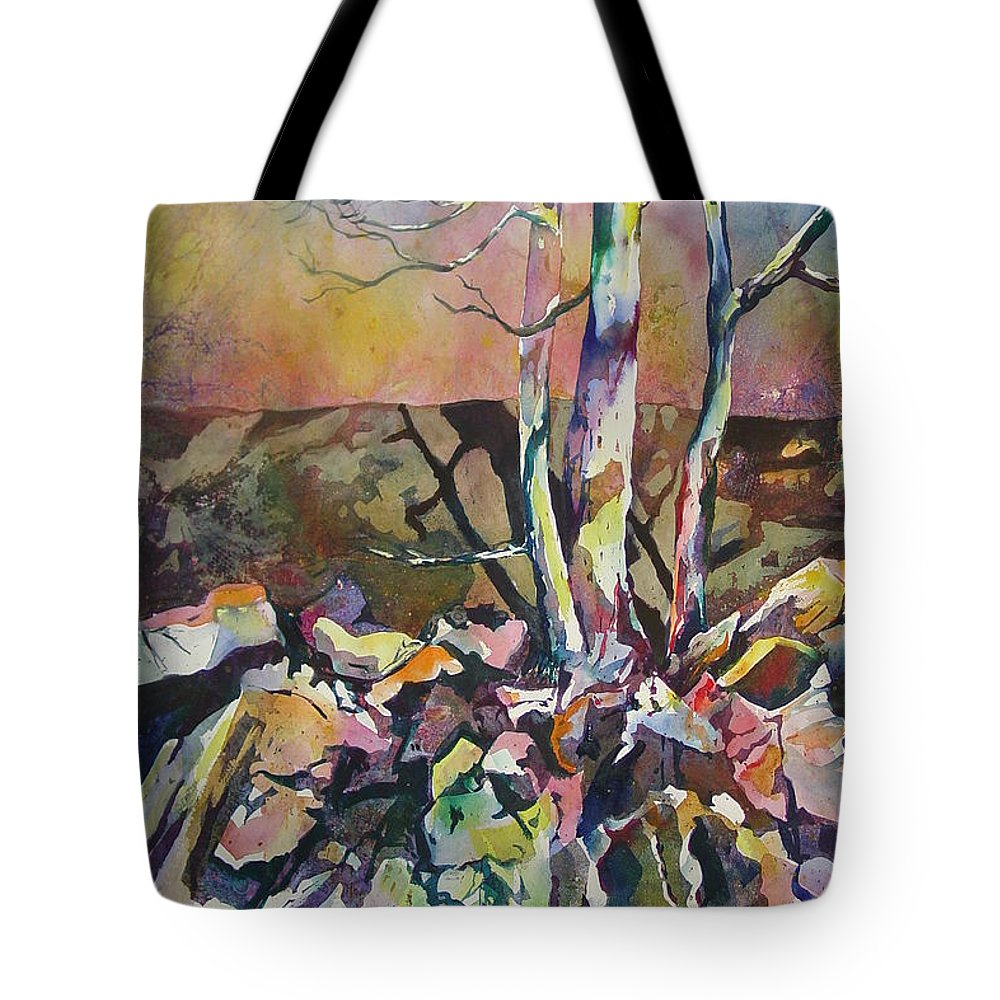 Watercolor Tote Bag featuring the painting Three Trees by Marlene Gremillion