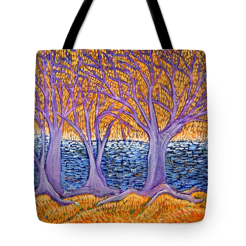 Landscape Tote Bag featuring the painting Three Trees by Rollin Kocsis