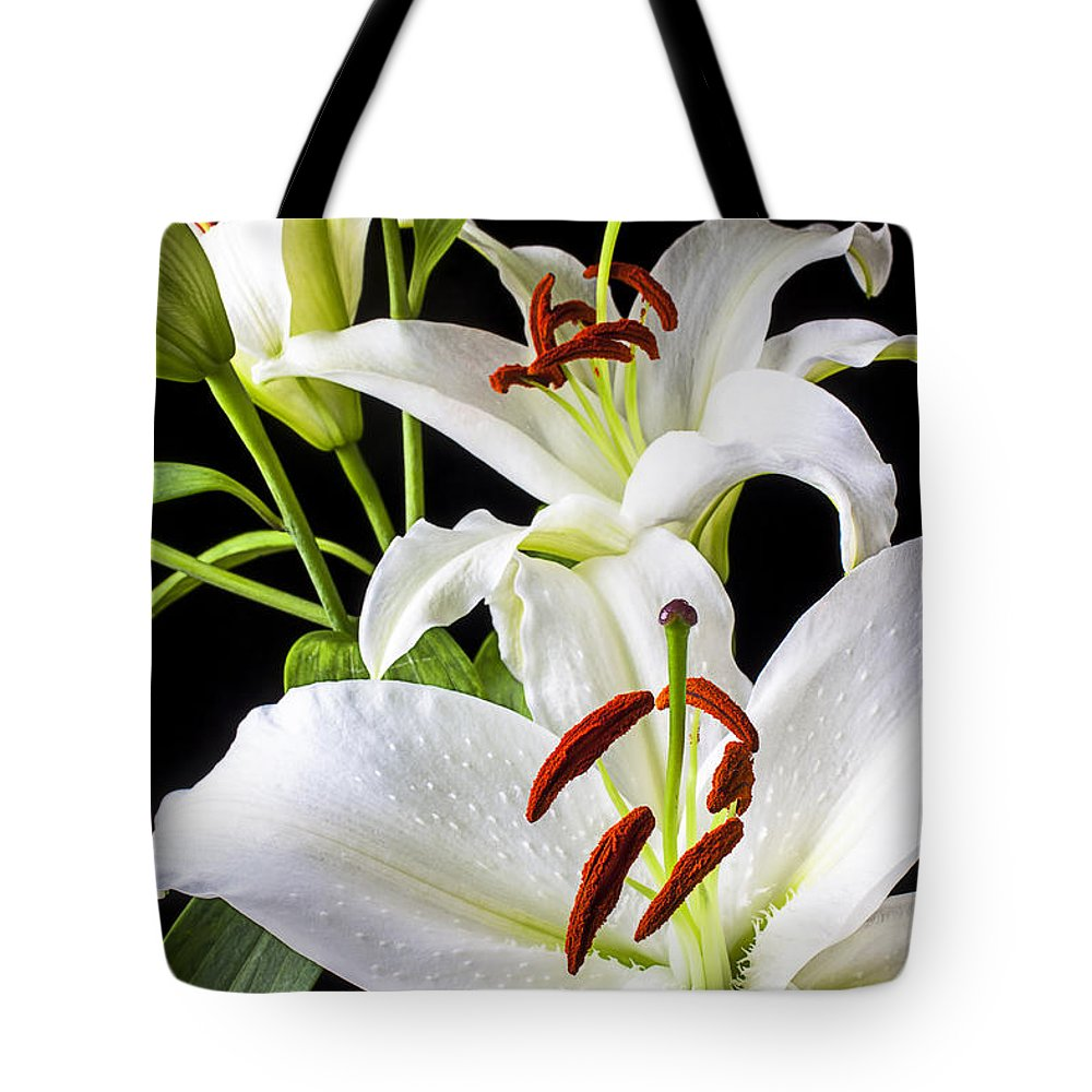 White Tiger Lily Tote Bag featuring the photograph Three White Lilies by Garry Gay