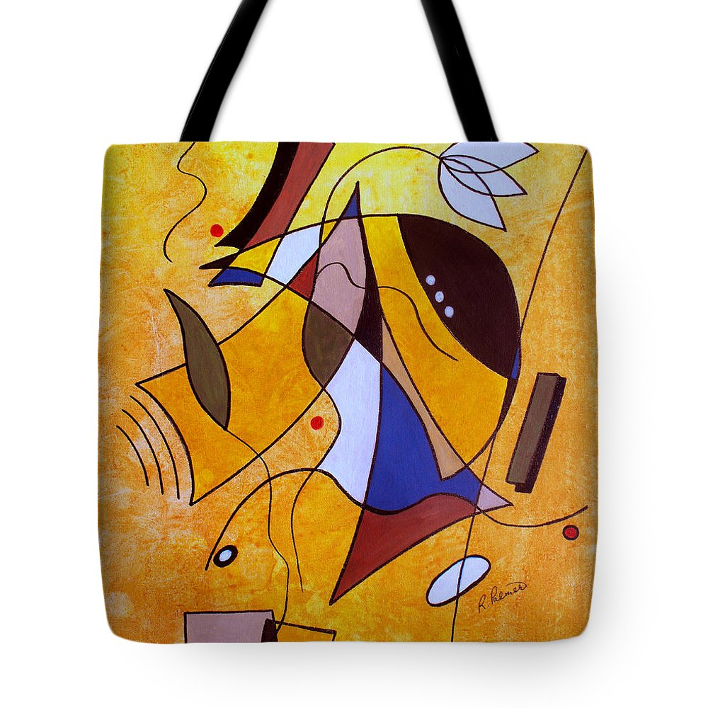 Abstract Tote Bag featuring the painting Three White Petals by Ruth Palmer