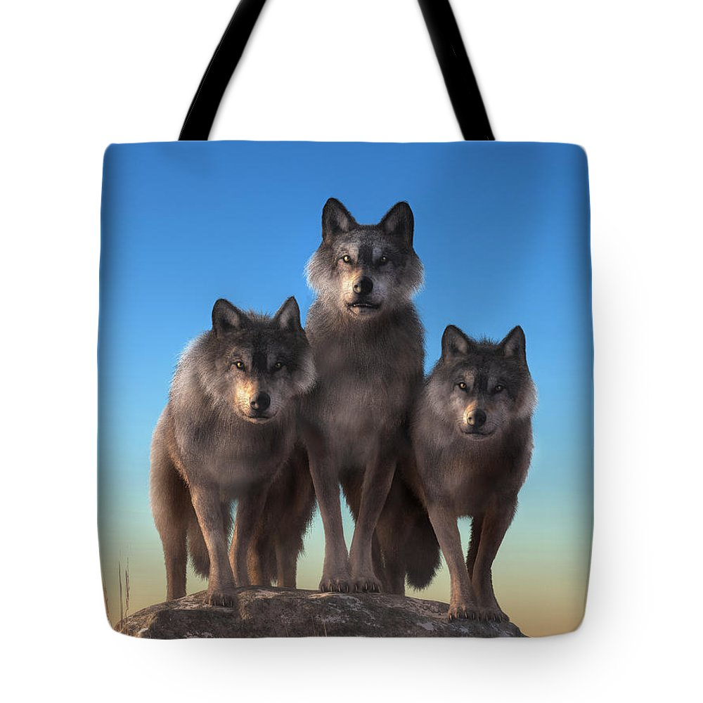 Staring Contest Tote Bag featuring the digital art Three Wolves Watching You by Daniel Eskridge