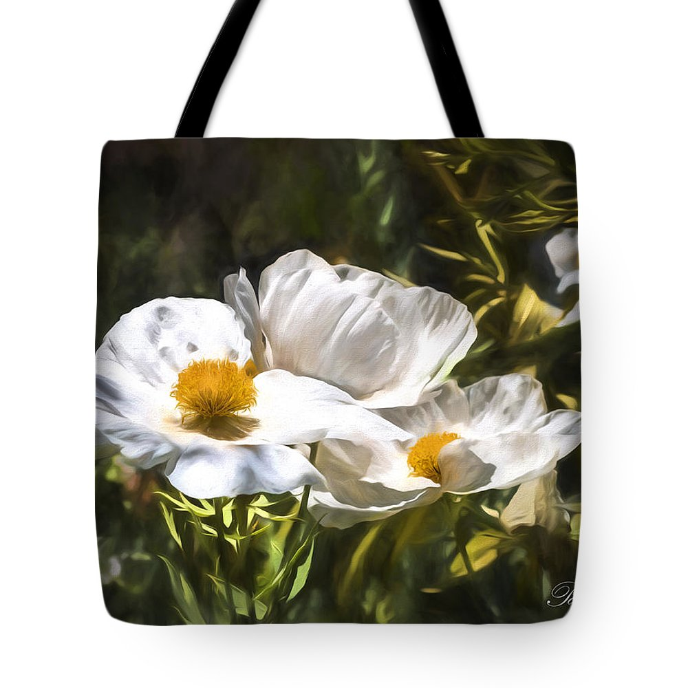 Poppies Tote Bag featuring the digital art Threes Company by Patricia Stalter