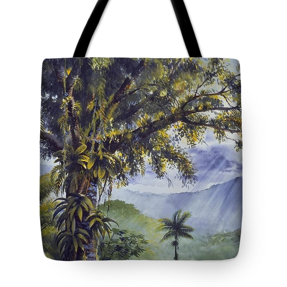 Chris Cox Tote Bag featuring the painting Through The Canopy by Christopher Cox