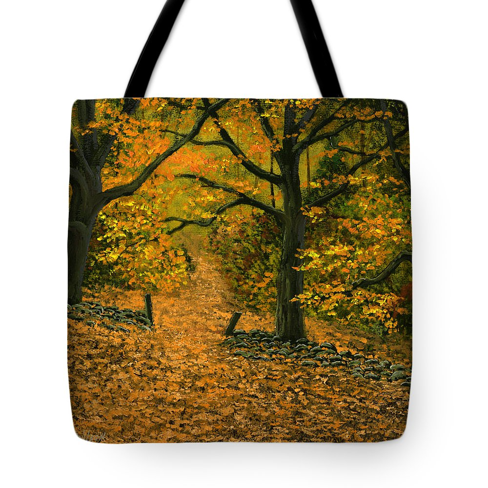 Landscape Tote Bag featuring the painting Through The Fallen Leaves by Frank Wilson