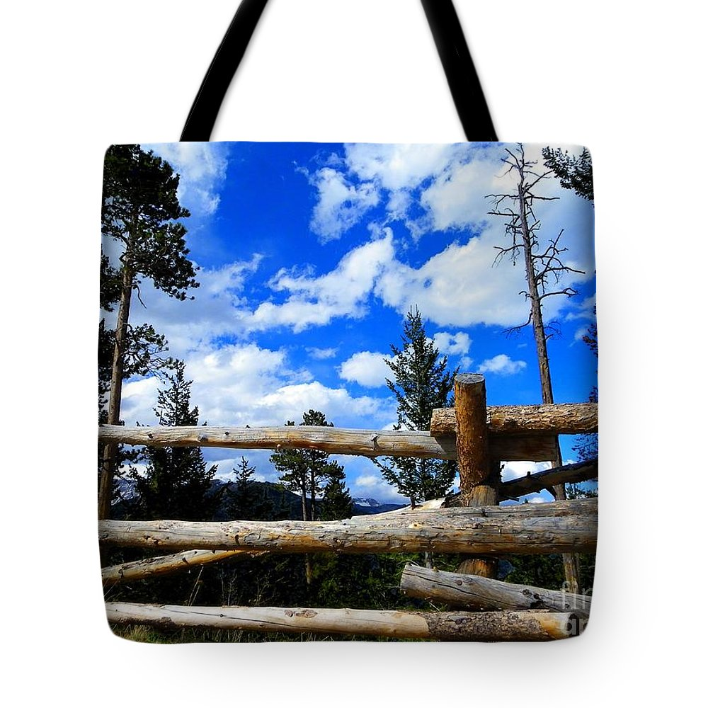 Wood Tote Bag featuring the photograph Through The Fence by Charleen Treasures
