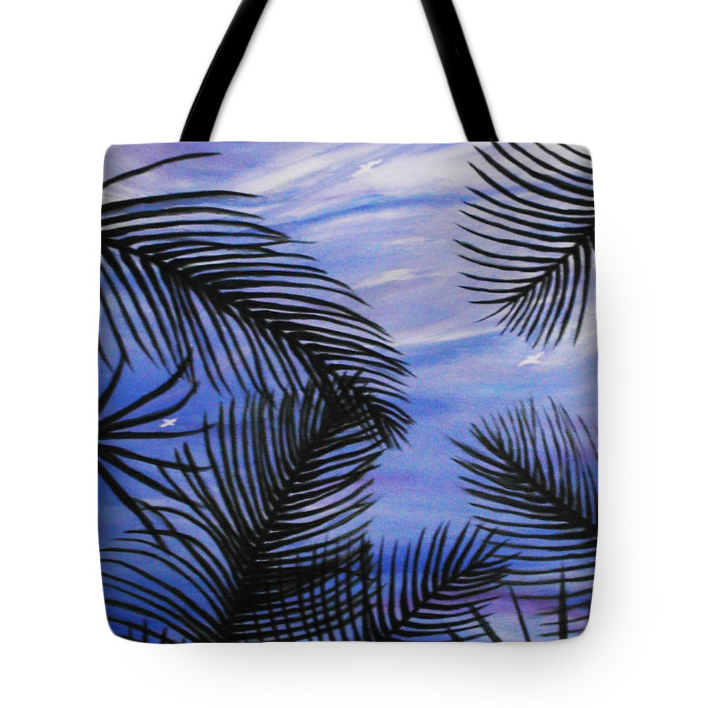 Palm Tote Bag featuring the painting Through The Fronds by Anne Marie Brown