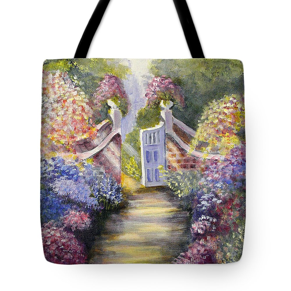 Flowers Tote Bag featuring the painting Through The Garden Gate by Quwatha Valentine