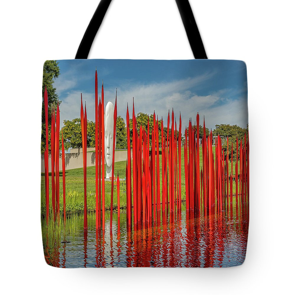 Richmond Tote Bag featuring the photograph Through The Glass Rods by Ed Tepper
