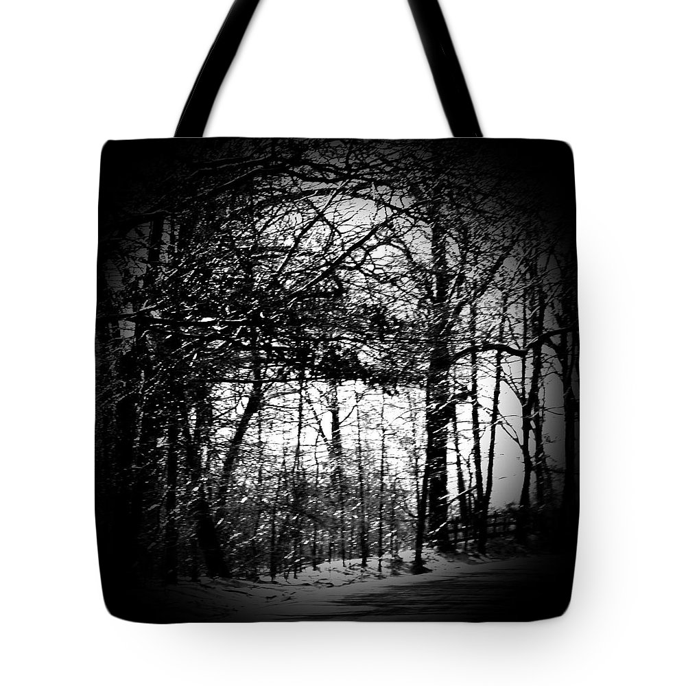 Trees Tote Bag featuring the photograph Through The Lens- Black And White by Charleen Treasures