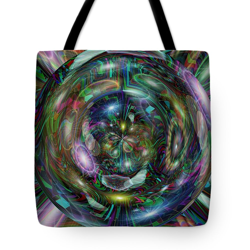 Abstract Tote Bag featuring the digital art Through The Looking Glass by Tim Allen