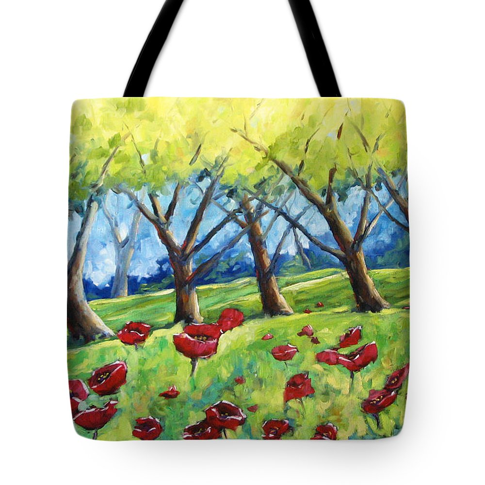 Landscape Tote Bag featuring the painting Through The Meadows by Richard T Pranke