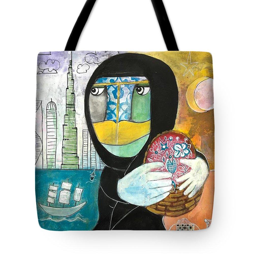 Abaya Tote Bag featuring the painting Through The Niqab by Eleni Koritou
