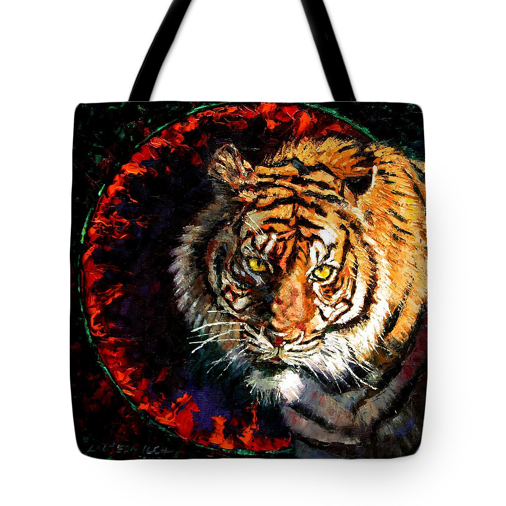 Tiger Tote Bag featuring the painting Through The Ring Of Fire by John Lautermilch
