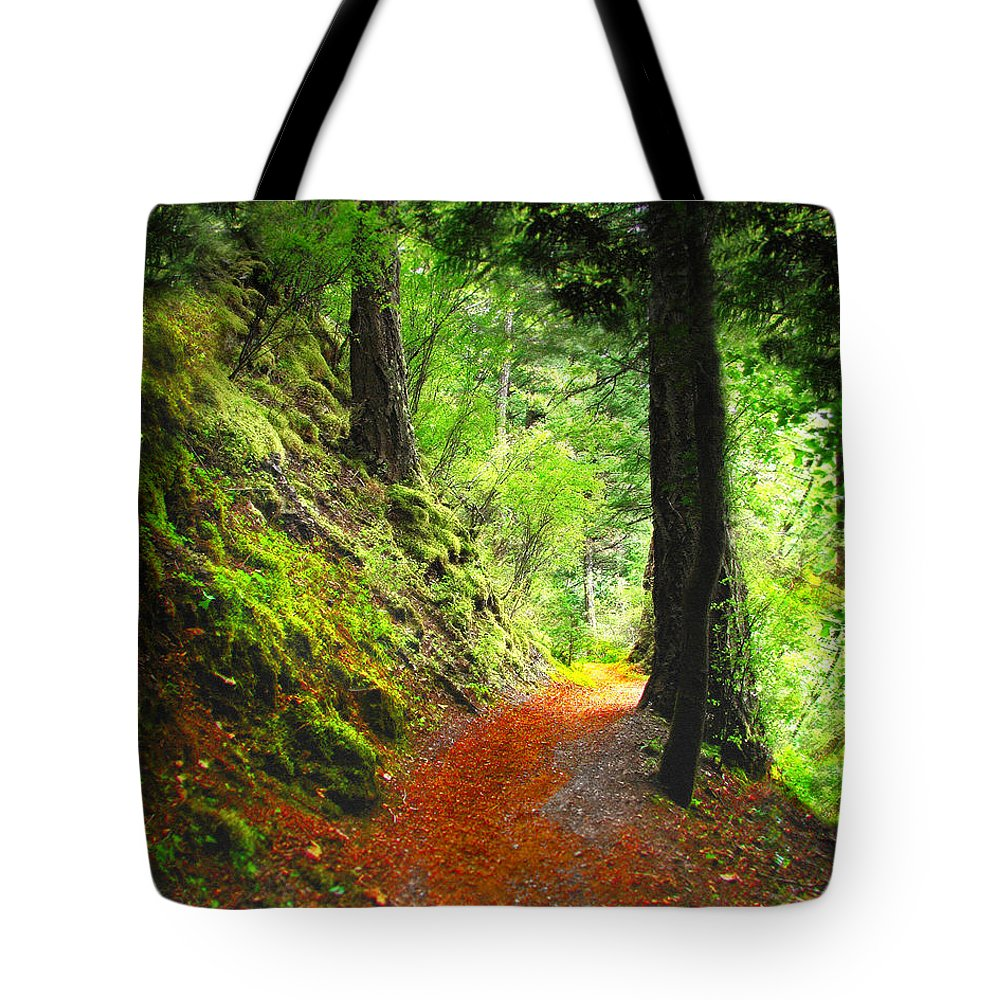 Path Tote Bag featuring the digital art Through The Woods by Vicki Lea Eggen