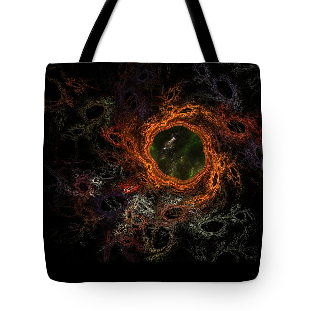 Fantasy Tote Bag featuring the digital art Through The Worm Hole by David Lane