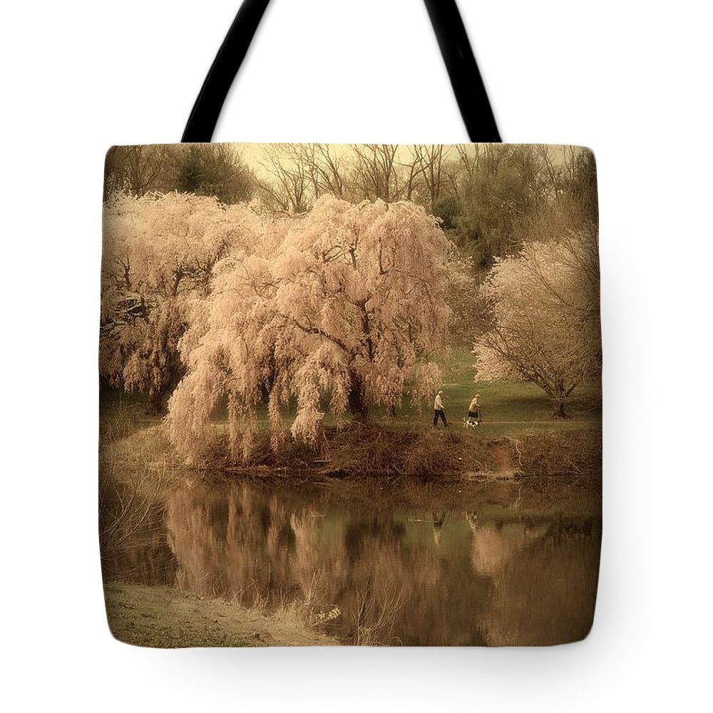 Cherry Blossom Trees Tote Bag featuring the photograph Through The Years - Holmdel Park by Angie Tirado