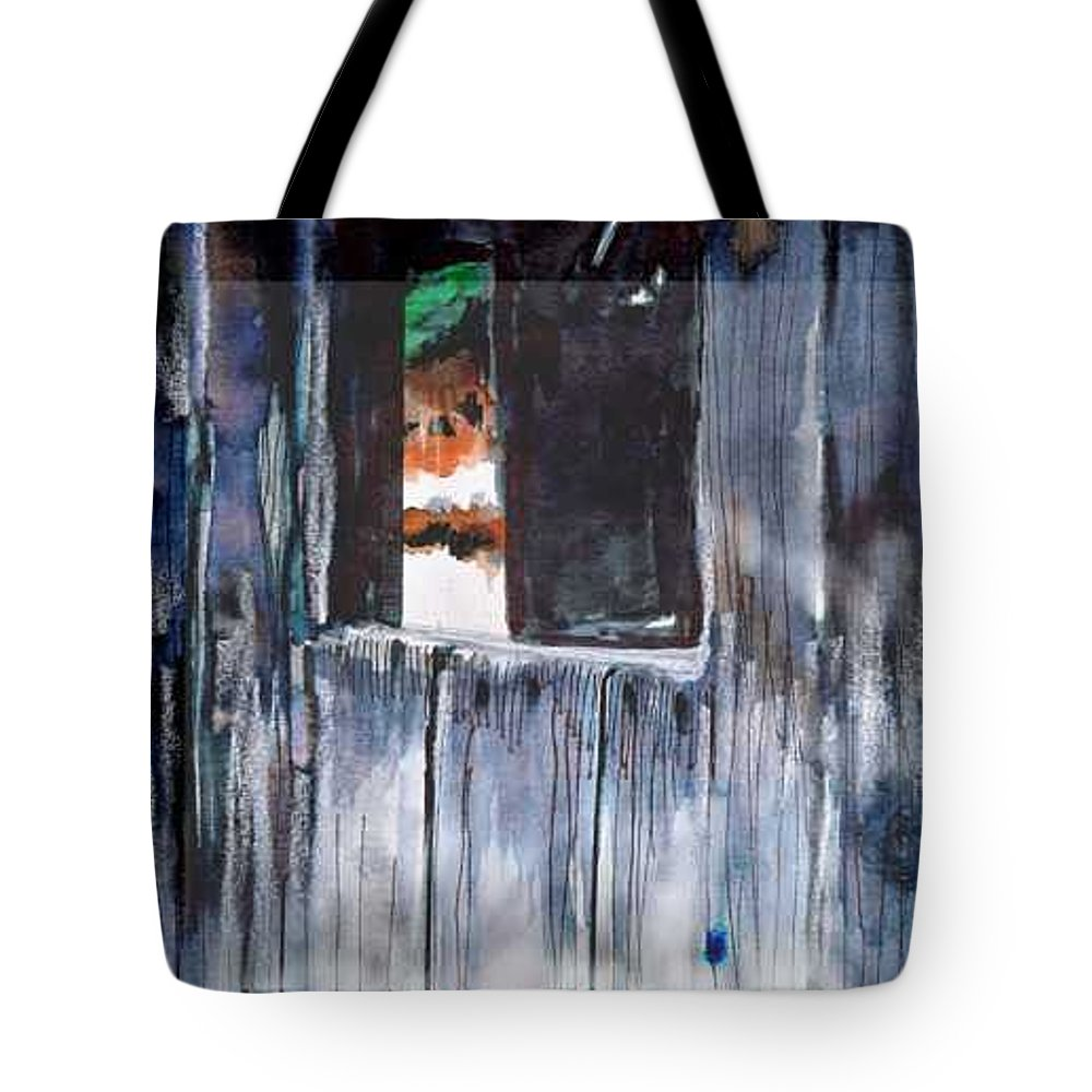 An Old Mysterious Barn With Deep Dark Shadows And Secrets. Rustic And Moody. Tote Bag featuring the drawing Thru the Barn Window by Seth Weaver