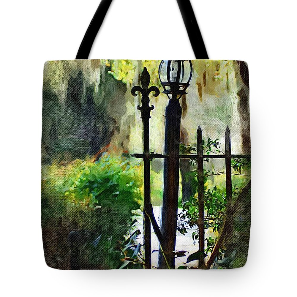 Gate Tote Bag featuring the digital art Thru The Gate by Donna Bentley