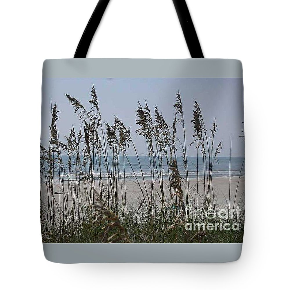 Florida Beach Near St. Augustine Tote Bag featuring the photograph Thru The Sea Oats by Barb Montanye Meseroll