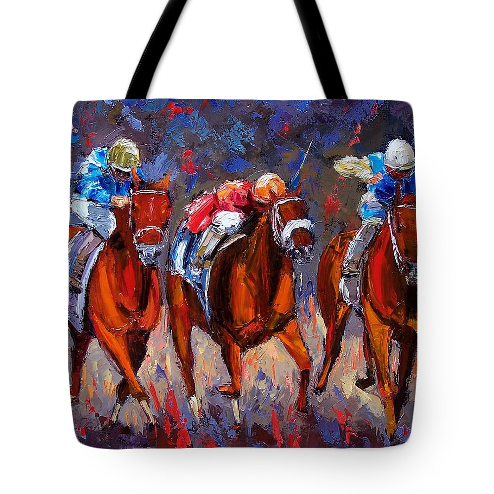 Horse Race Tote Bag featuring the painting Thunder by Debra Hurd