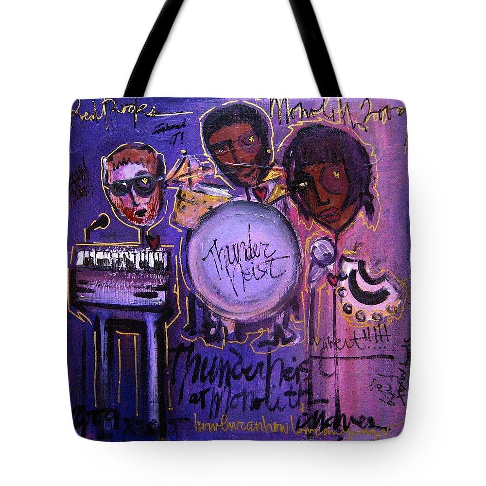 Thunderheist Tote Bag featuring the painting Thunderheist Plays Monolith by Laurie Maves ART