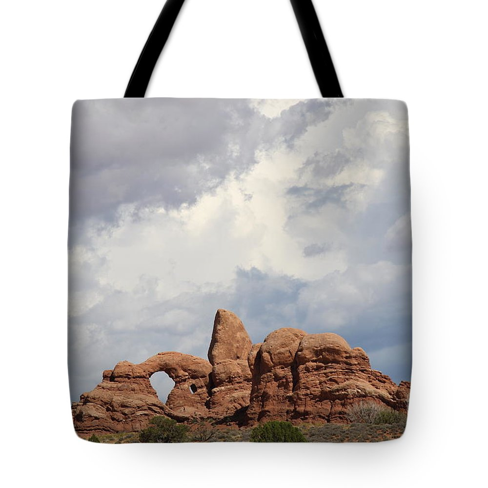 Window Tote Bag featuring the photograph Thunderstorm Clouds Over Turret Arch by Christiane Schulze Art And Photography