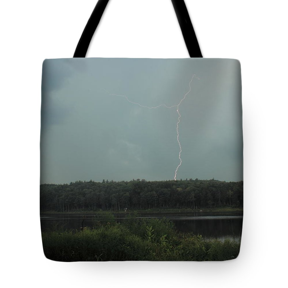 Thunderstorm Tote Bag featuring the photograph Thunderstorm Over Otter Brook Lake by John Burk