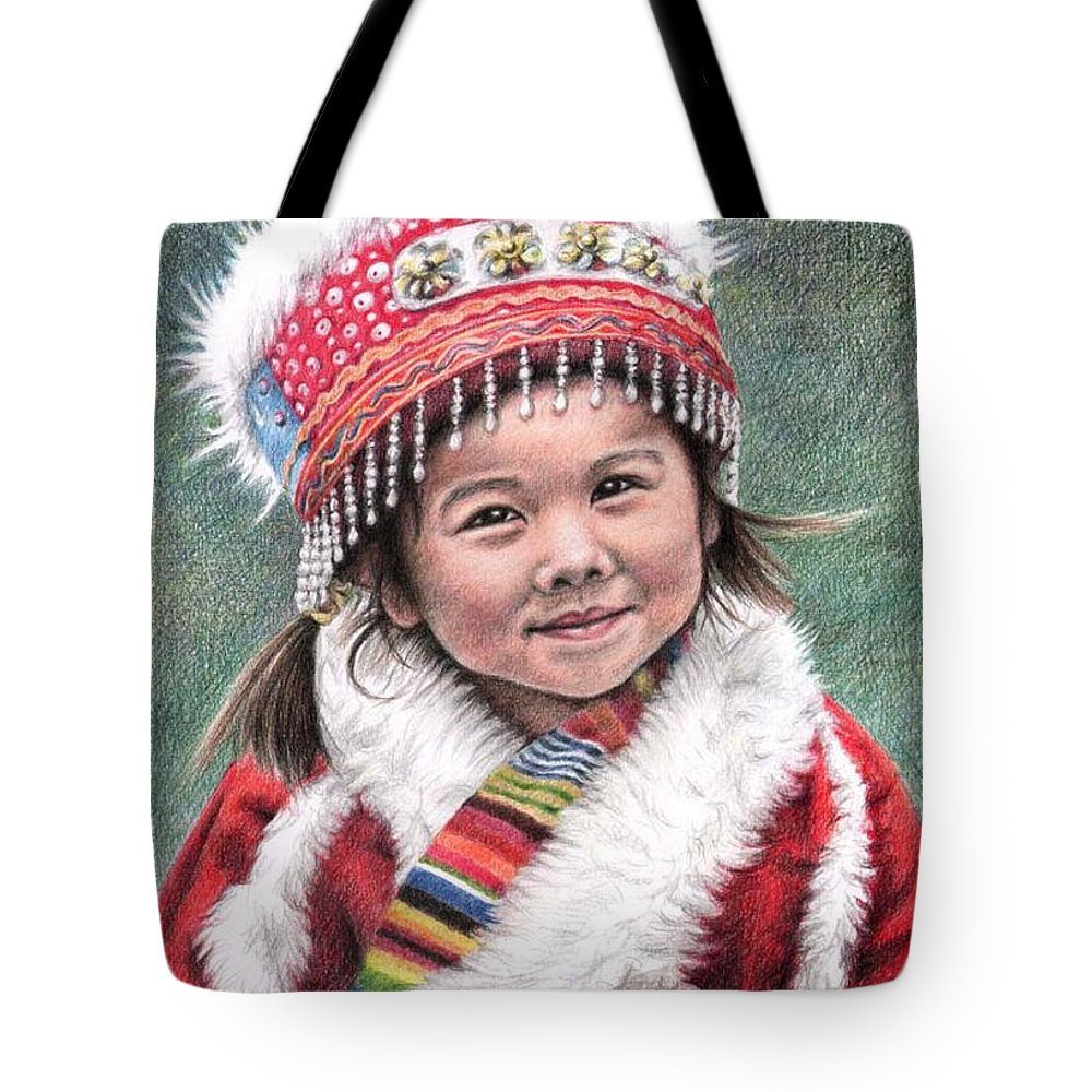 Girl Tote Bag featuring the drawing Tibetan Girl by Nicole Zeug