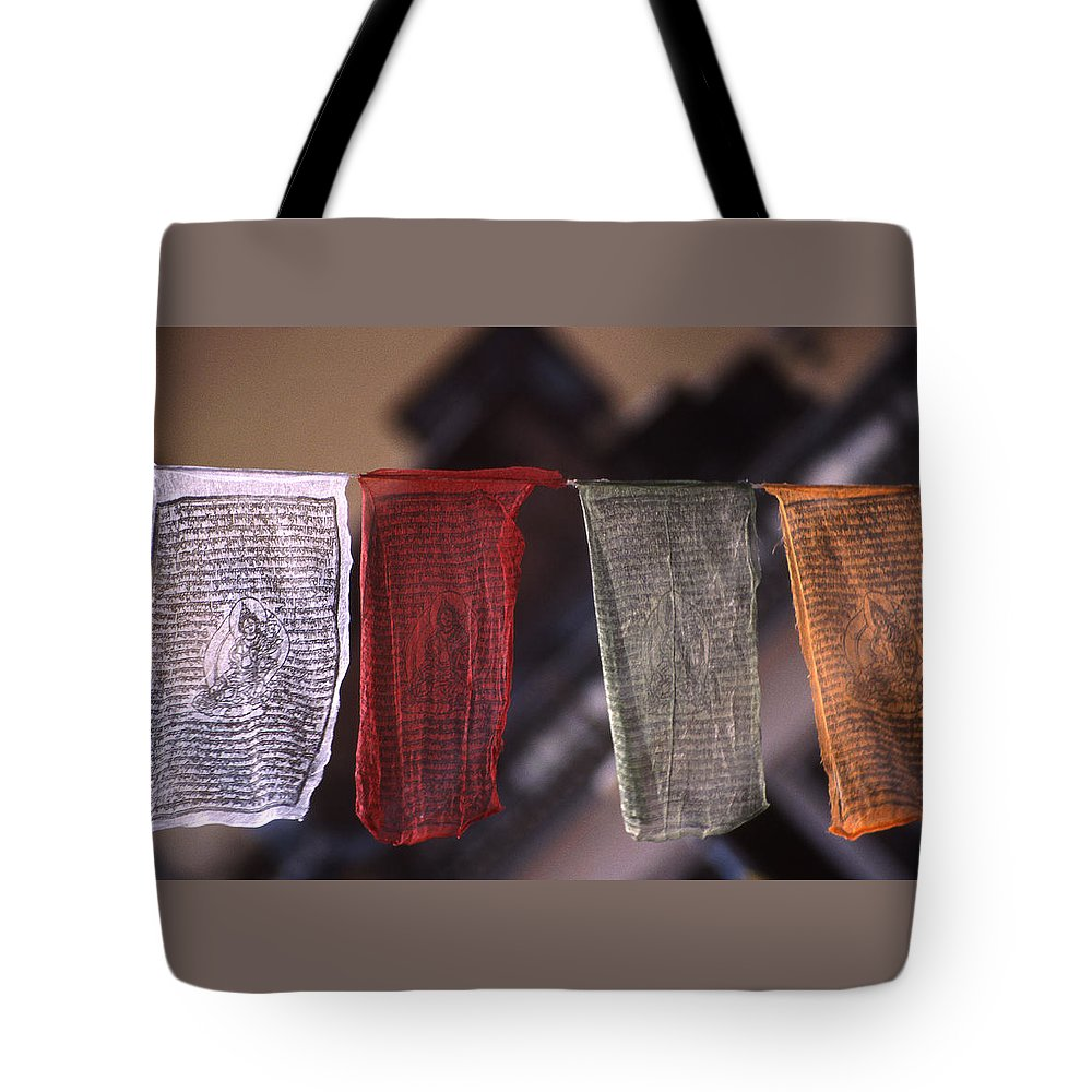 Prayer Flag Tote Bag featuring the photograph Tibetan Prayer Flags by Patrick Klauss