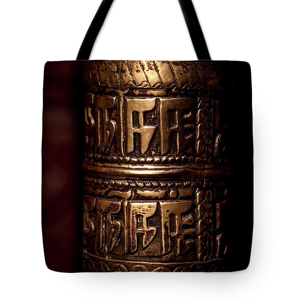Prayer Wheel Tote Bag featuring the photograph Tibetan Prayer Wheel by Patrick Klauss