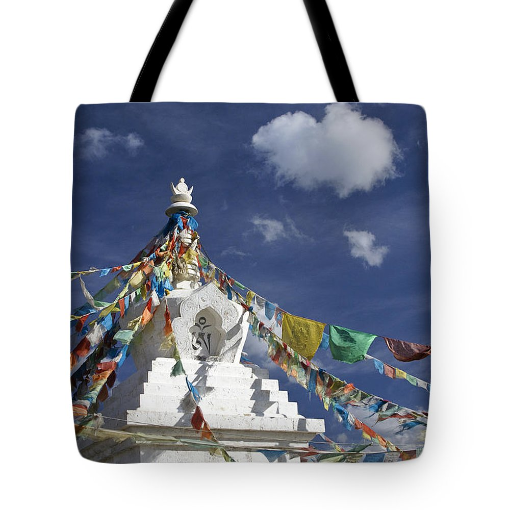 Asia Tote Bag featuring the photograph Tibetan Stupa with Prayer Flags by Michele Burgess