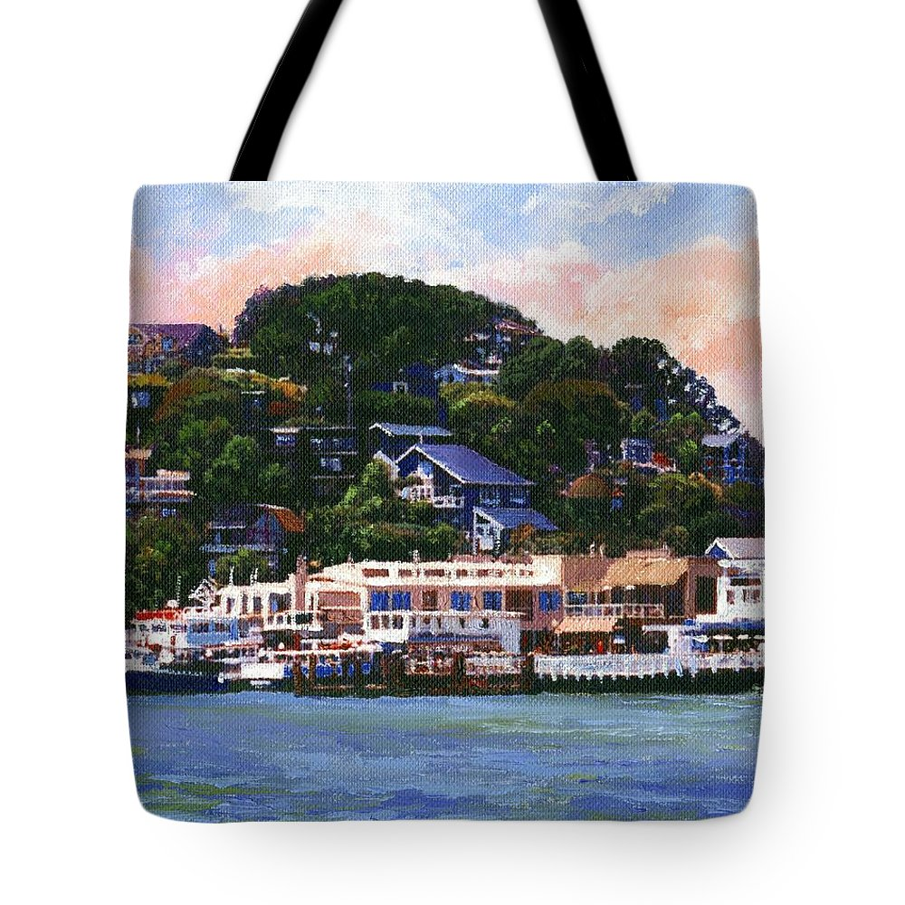 Landscape Tote Bag featuring the painting Tiburon California Waterfront by Frank Wilson