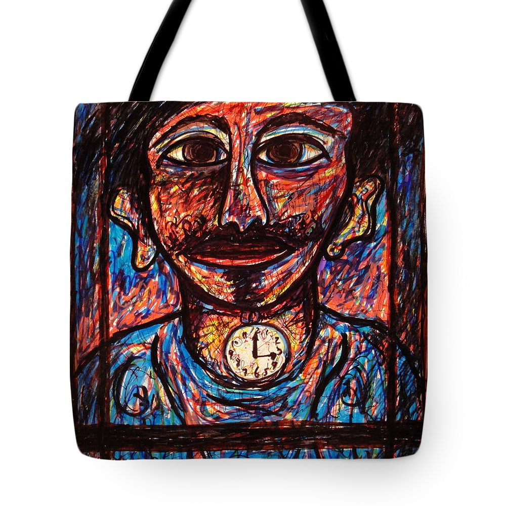 Man Tote Bag featuring the mixed media Tic Toc by Natalie Holland