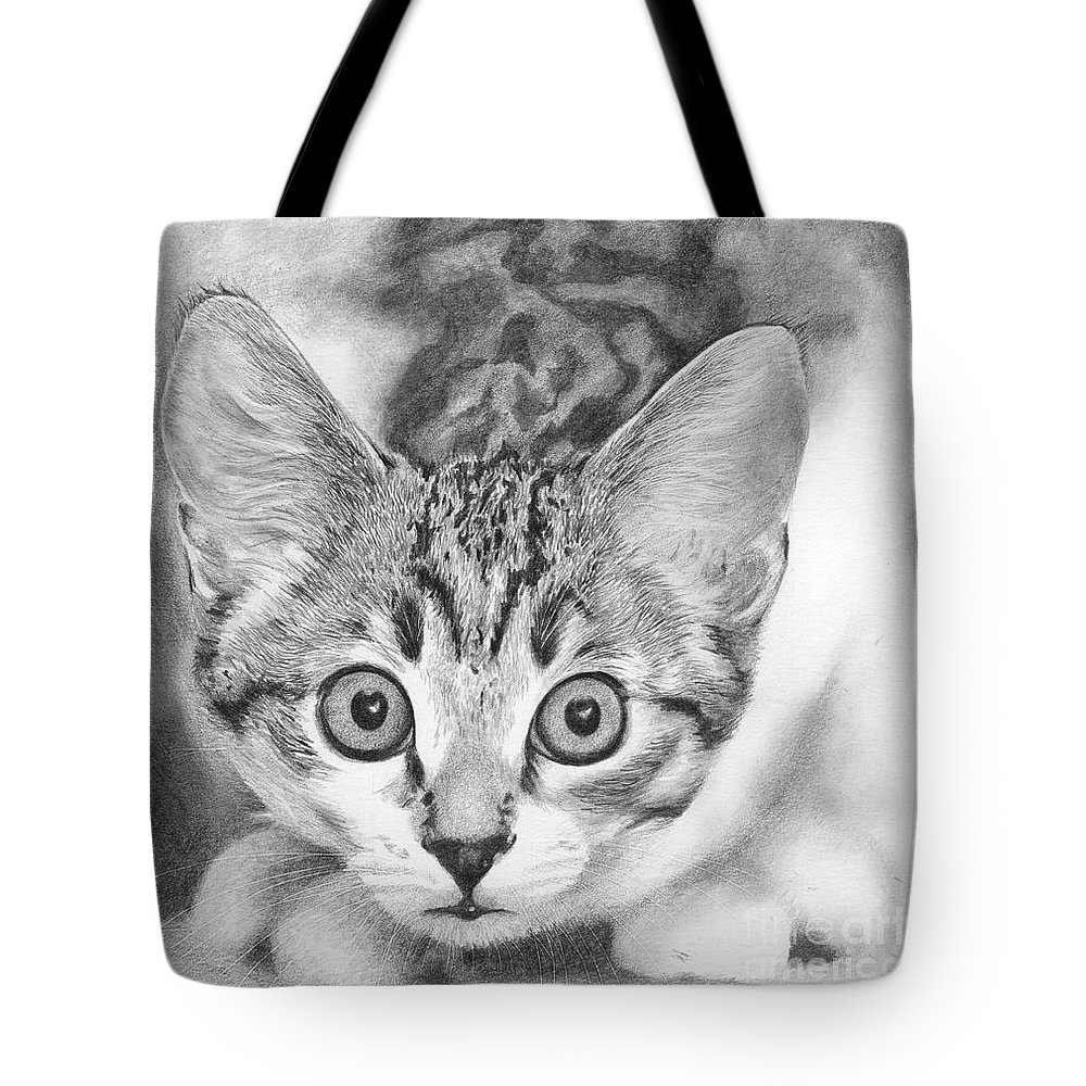 Cat Tote Bag featuring the drawing Tiddles by Karen Townsend